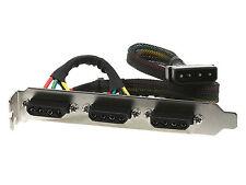 3 x 4 Pin Molex Female Connector PCI Power Panel Bracket for PC Desktop Computer