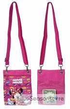 "Disney Dark Pink Minnie Mouse Wallet Camera Pouch Bag Purse Shoulder Strap 7.5"""