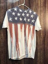 USA Flag SizeM Stars & Stripes Gildan Short Sleeve T-Shirt Dry Blend Cotton/Poly