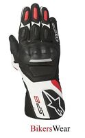 Alpinestars SP-8  SP8 V2 White/Blk/Red Leather Racing & Sport Motorcycle Gloves