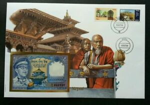 [SJ] Nepal Heritage 1989 Culture Building Temple Buddha FDC (banknote cover)