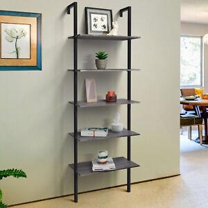 "Zenvida 5-Shelf Modern Bookcase Wall Mount 72"" Ladder Bookshelf Industrial"