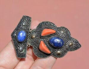 1930's Chinese Silver Filigree Coral & Lapis Carved Carving Bead Pin Brooch Mk