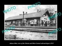 OLD LARGE HISTORIC PHOTO OF ATHENS OHIO THE T&OC RAILROAD DEPOT STATION c1915