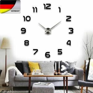 Wanduhr Uhr 3D Wandtattoo Deko Design Spiegel Schwarz Edelstahl Wand Uhr Groß DE