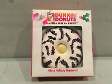 DUNKIN DONUTS Christmas Holiday Glass Ornament Frosted Donut 2007 Boston