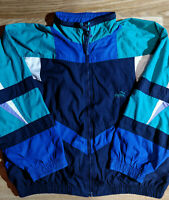Puma 90's Vintage Mens Tracksuit Top Jacket Multi Color Cotton Polyester Blue