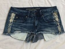 American Eagle Outfitters Stretch Embellished Blue Denim Shorties Women's Size 6
