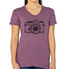 """Vintage Canon Camera Graphic printed on Women's """"Junior Size"""" American Apparel T"""