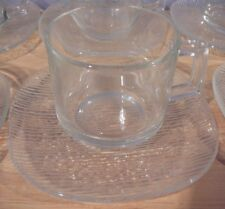 6 vtg Glass Large DEMITASSE Cups & Saucers ESPRESSO Greek Turkish Coffee