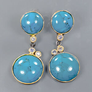 Vintage Art Recommend Turquoise Earrings Silver 925 Sterling   /E58062