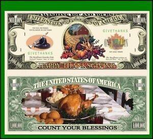 5 Factory Fresh Novelty Happy Thanksgiving Million Dollar Bills