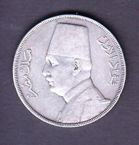 EGYPT SILVER COIN , 20 PIASTRES FUAD I 1929 YEAR XF