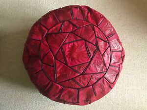 real leather pouffe
