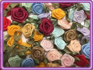 "100 Satin Ribbon Rose Flower 3/4"" Applique Sewing Bow Craft Mix Color 207-4"