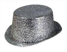 Glitter Silver Glitter Top Hat, Toppers, Plastic. Fancy Dress Headwear Accessory