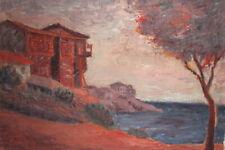 Vintage post impressionist oil painting landscape seaside signed