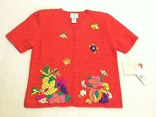 NWT Susan Bristol PM Petite M Red Orange Pineapple Flower Sweater Vintage 1997