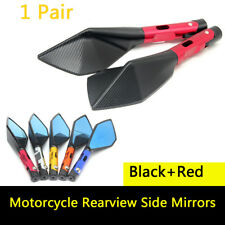 """Universal Black+Red Motorcycle CNC Aluminum 7/8"""" Bar End Side Rearview Mirrors"""