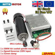CNC ER11 500W Air Spindle Motor &52mm Clamp&Power Supply Speed Governor【EU-Send】