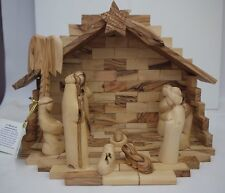 Bethlehem Star Olive Wood Factory Nativity Scene Crib Authentic XMAS Modern