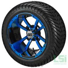4 215/35-12 Tire on a 12x7 Black/Blue Maltese Cross Wheel W/Free Freight