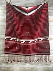 Vintage Rug/Poncho Ethnic Native Red Black White Wool 78 x 35