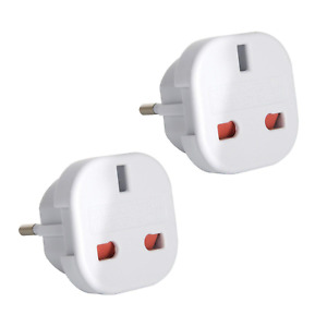 TEC UK - 2 x UK to EU Europe European Travel Adapter suitable for France, Spain,
