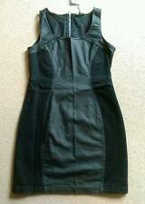 SEXY WAREHOUSE BLACK BODYCON COATED DENIM SLEEVELESS SHORT DRESS SIZE 12 BNWT