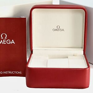Omega SpeedMaster Watch Box Genuine Red Leather Box Outer, Inner And Booklet