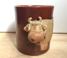 VTG Stoneware Studio Art Pottery Mug Cup Sculpted Cow Heffer Ceramic 10 oz
