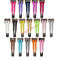 New Women Candy Color Neon Shiny Bright Fluorescent Glow Stretch Leggings