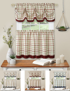 Country Farmhouse Plaid 3 Pc Tattersall Cafe Kitchen Curtain Tier & Valance Set