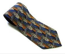 DANIEL HECHTER Neck Tie BLUE ORANGE TAN Abstract 100% SILK Necktie Made in USA
