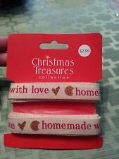 """Homemade with Love Decorative Ribbon by Christmas Treasures  - 12' x 5/8"""""""