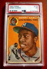 1954 Topps #128 Hank Aaron MILWAUKEE BRAVES Rookie Card ~ PSA 1