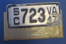 1947 Virginia Motorcycle Side Car License Plate never used