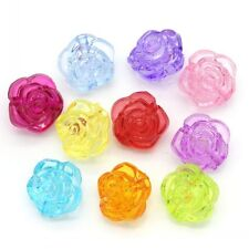 Lot10 Perle Fleur Acrylique Transparent 12mm x 9mm Couleur Mixte Creation Bijoux