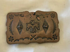 Copper Southwest Style Stamped Thunderbird Design Buckle Nice Patina