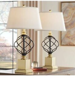 Montecito Gold and Black Open Cage Table Lamps Set of 2