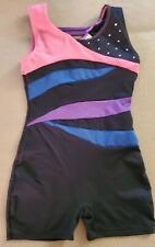 Freestyle Girl's Leotard Size Small 6/6X Black w sparkly blue, pink & purple Euc
