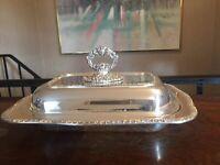 Oneida Community Tudor Plate Silver Plated Side Dish Serving Platter Floral