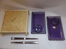 Purple Porcelain Sashimi Sushi Plate Dish W/Chopsticks/Made Japan 7 Piece Set