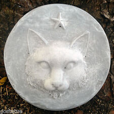 """Plastic Cat stepping stone mold plaster concrete mould   9 & 3/4"""" x up to 1.5"""""""