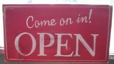 DOUBLE SIDED COME ON IN! OPEN / CLOSED SIGN Hand Painted WOOD. business sign