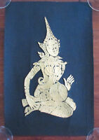 Vintage Embossed Gold Black Thai Buddhist Temple Musician Wall Art Decor