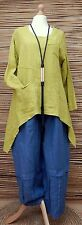 LAGENLOOK STUNNING QUIRKY LINEN ASYMMETRICAL APPLIQUE TUNIC*LIME*BUST UP TO 48""