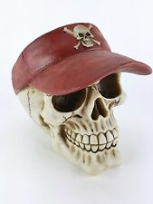 Collectible SKULL WITH RED VISOR Handpainted Resin Statue POKER GAMBLER SPORTING