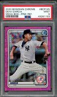2020 Bowman Chrome DEIVI GARCIA Mega Box Pink Mojo Refractor /199 Yankees PSA 9
