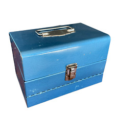 """Vintage Blue Metal 8mm Film Chest Carrying Case-Holds x12 5"""" Reels"""